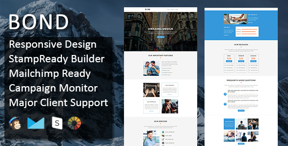 Bond – Multipurpose Responsive Email Template + Stampready Builder