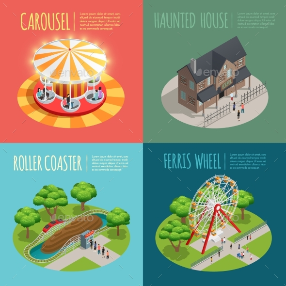 Amusement Park Concept Icons Set - Sports/Activity Conceptual