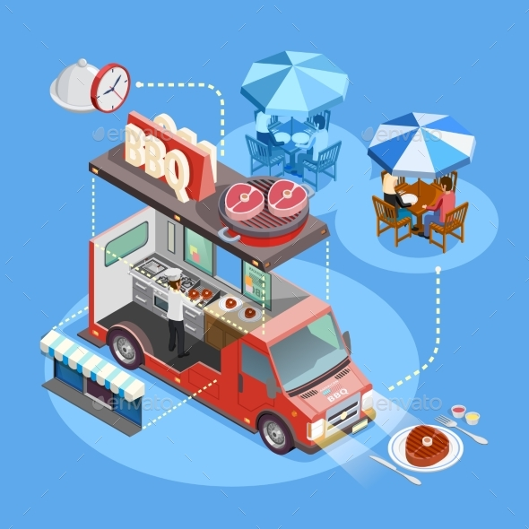Street Food Trucks Service Isometric Poster - Industries Business