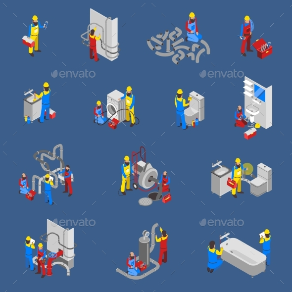 Plumber Isometric People Icon Set - Services Commercial / Shopping