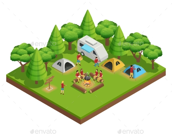 Hiking Isometric Composition - Landscapes Nature