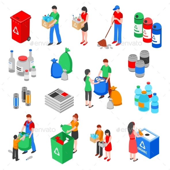 Garbage Recycling Elements Set - Miscellaneous Conceptual