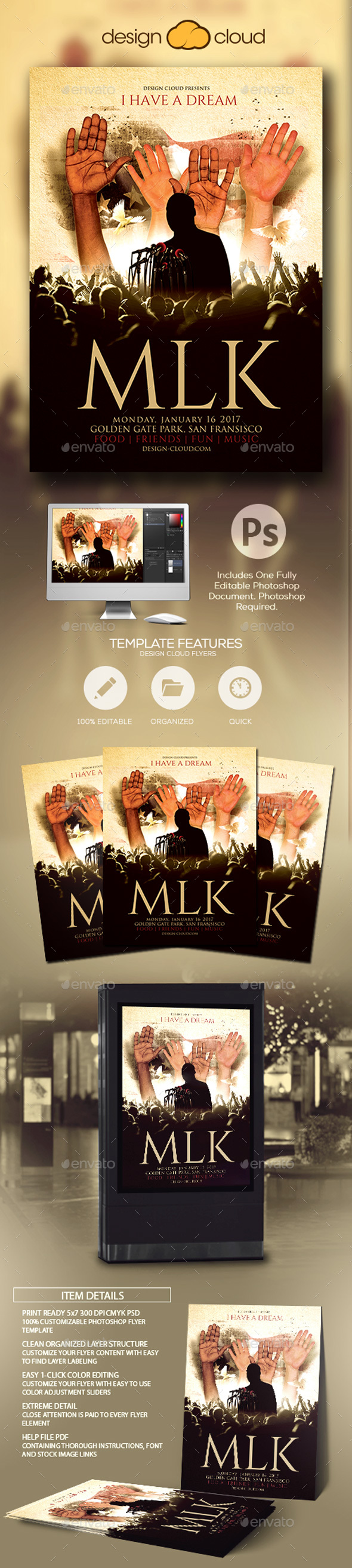 MLK - Martin Luther King Holiday Flyer Template - Holidays Events