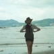 Girl With A Backpack Standing In Front Of A Ocean - VideoHive Item for Sale