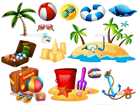 Summer Set with Toys and Island - Sports/Activity Conceptual