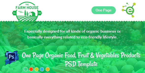 The Farm House – One Page Organic Food, Fruit & Vegetables Products PSD Template