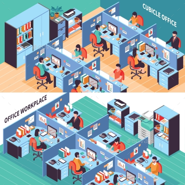 People In Office Cubicles Isometric Banners - Backgrounds Business