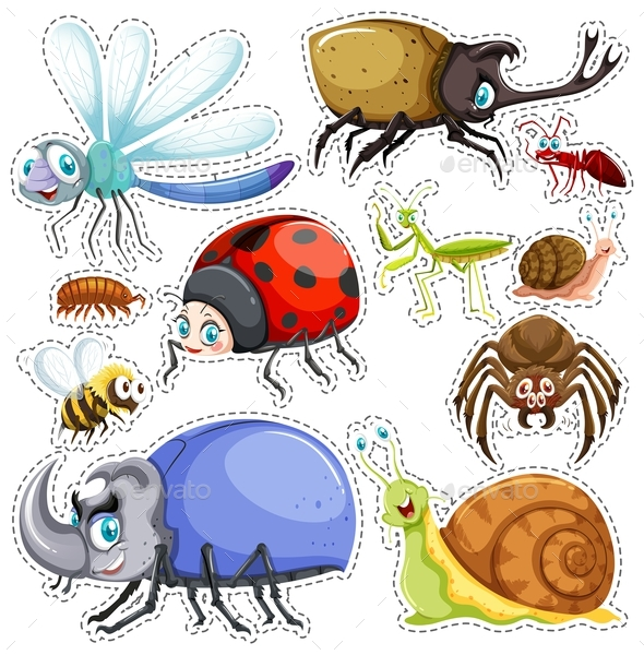 Sticker Set of Many Insects - Animals Characters
