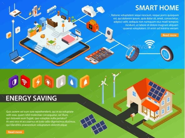 Smart Home 2 Isometric Banners Design - Web Technology