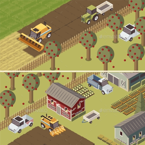 Ranch Isometric Horizontal Banners - Industries Business