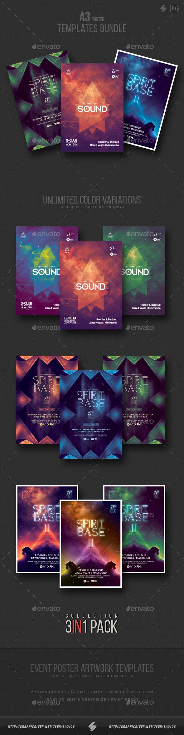 Progressive Sound vol.5 - Party Flyer / Poster Templates Bundle - Clubs & Parties Events