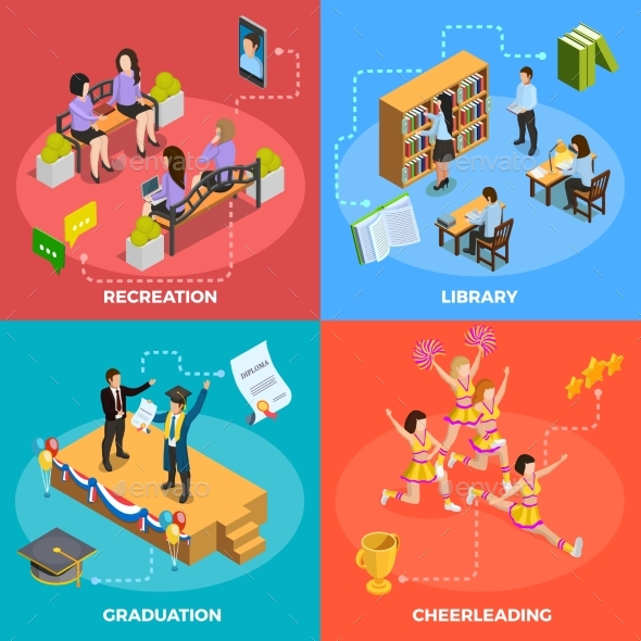 University People 4 Isometric Icons Square - Miscellaneous Conceptual