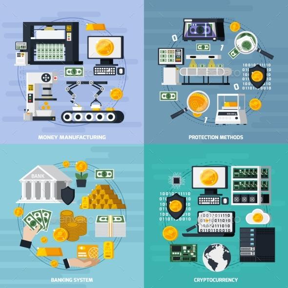 Money Manufacturing Concept Icons Set - Business Conceptual