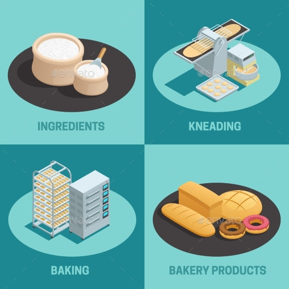 Four Bakery Factory Isometric Icon Set - Objects Vectors