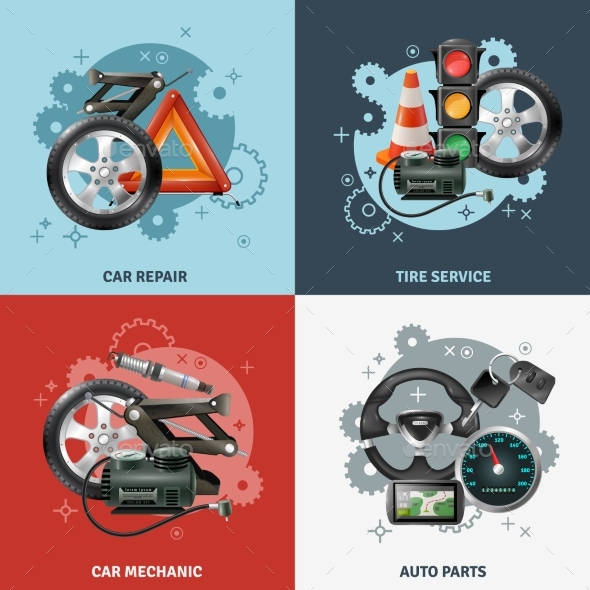 Car Service Concept Icons Set - Technology Conceptual