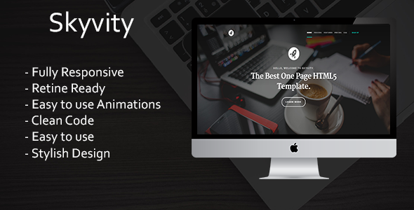 Skyvity - Responsive HTML5 One Page Template + Animations - Portfolio Creative