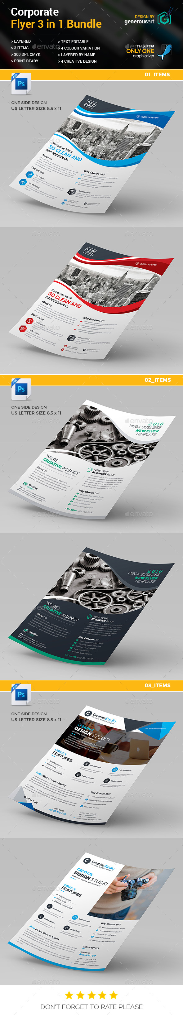 Flyer Bundle 3 in 1 - Corporate Flyers