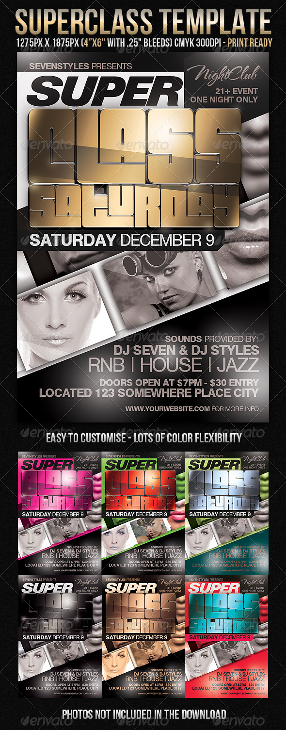 SuperClass Flyer Template - Clubs & Parties Events