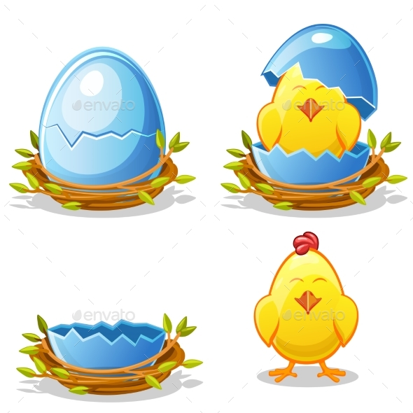 Cartoon Chicken and Blue Egg in a Nest - Flowers & Plants Nature