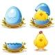 Cartoon Chicken and Blue Egg in a Nest - GraphicRiver Item for Sale