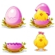 Cartoon Funny Chicken and Pink Egg in a Nest - GraphicRiver Item for Sale