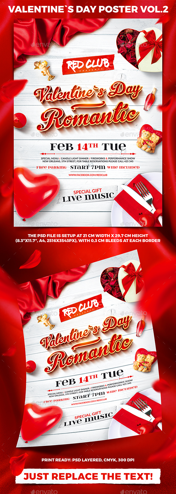 Valentine`s Day Party Poster vol.2 - Clubs & Parties Events