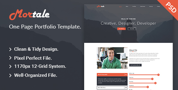 Mortale | One Page Personal Portfolio PSD Template.
