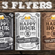 3 Vintage Happy Hour Flyers - GraphicRiver Item for Sale