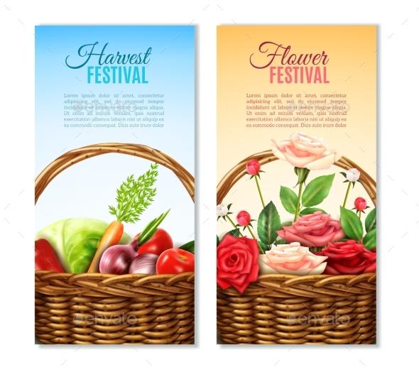 Wicker  Basket  2 Vertical Banners Set - Nature Conceptual