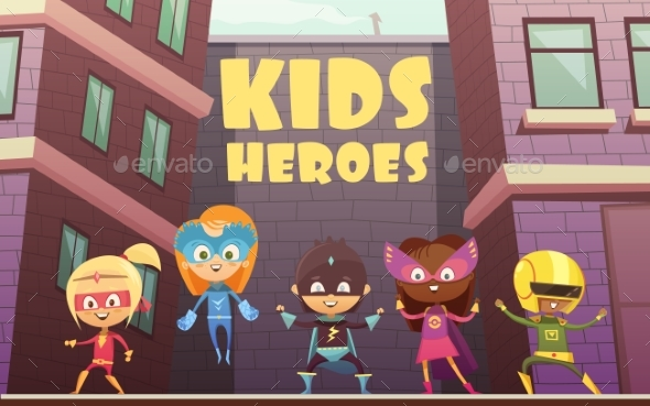Kids Superheroes Cartoon Illustration - People Characters