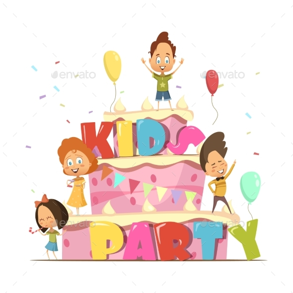 Kids Party Retro Composition - People Characters