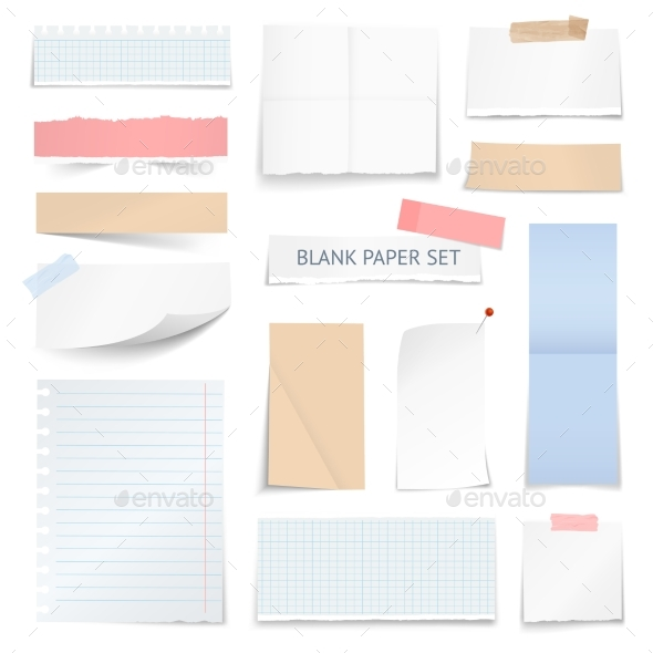 Blank Paper Sheets Strips Realistic Collection - Objects Vectors