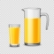 Glass And Pitcher With Orange Juice On Transparent