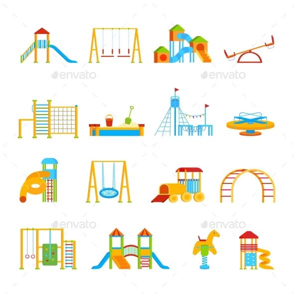 Playground Equipment Icon Set - Decorative Vectors