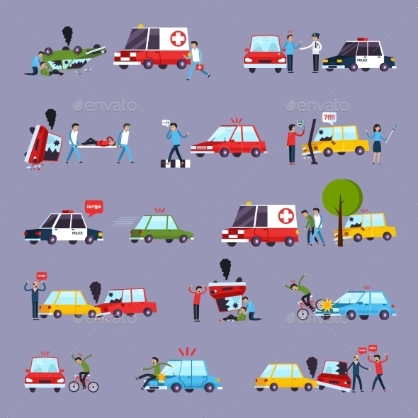 Road Accident Icons Set - People Characters