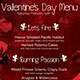 Valentines Day Menu Template V2 - GraphicRiver Item for Sale