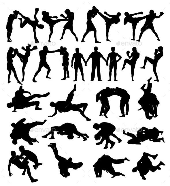 Wrestling and Boxing Silhouettes - Sports/Activity Conceptual