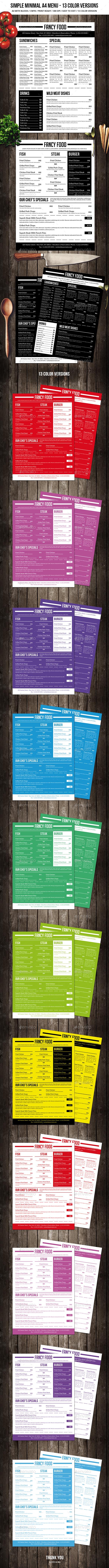 Simple A4 Minimal A4 Menu - 13 Color Versions - Food Menus Print Templates