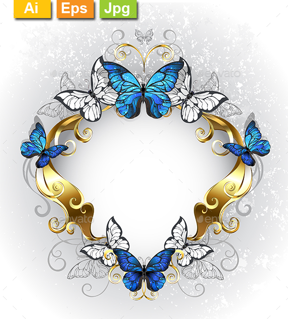Jewelry Banner with Blue Butterflies - Borders Decorative