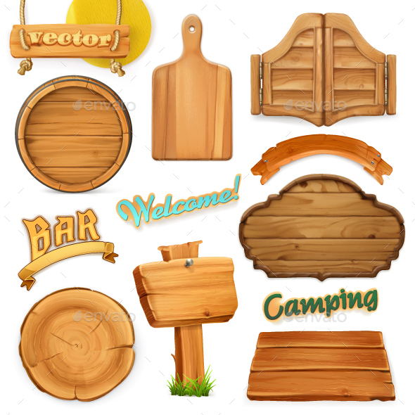 Wooden Sign Set - Miscellaneous Vectors