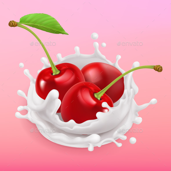 Cherry and Milk Splash - Food Objects