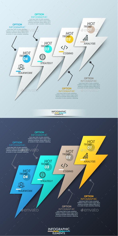 Modern Infographic Paper Lightning Template - Infographics