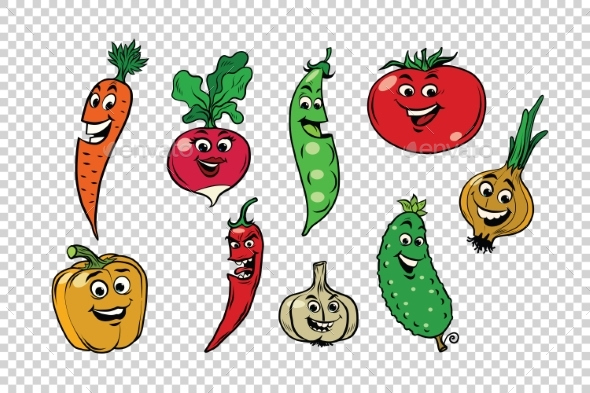 Set of Fresh Vegetable Characters - Food Objects
