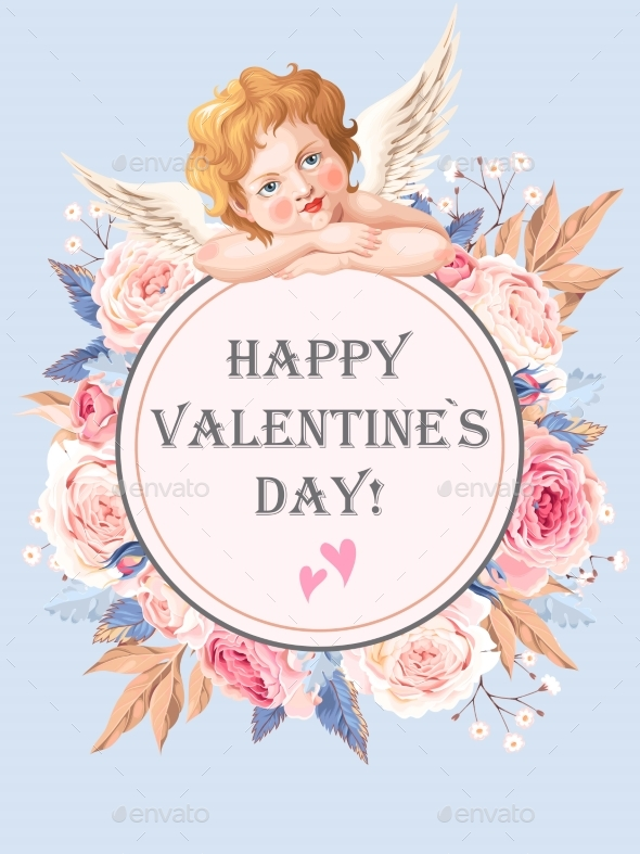 Valentines Day Card with Roses and Cupid - Valentines Seasons/Holidays