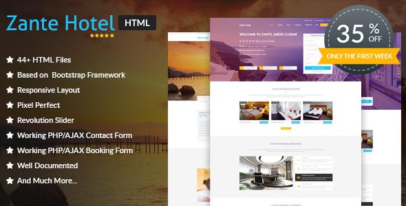 Zante Hotel - Hotel HTML Template