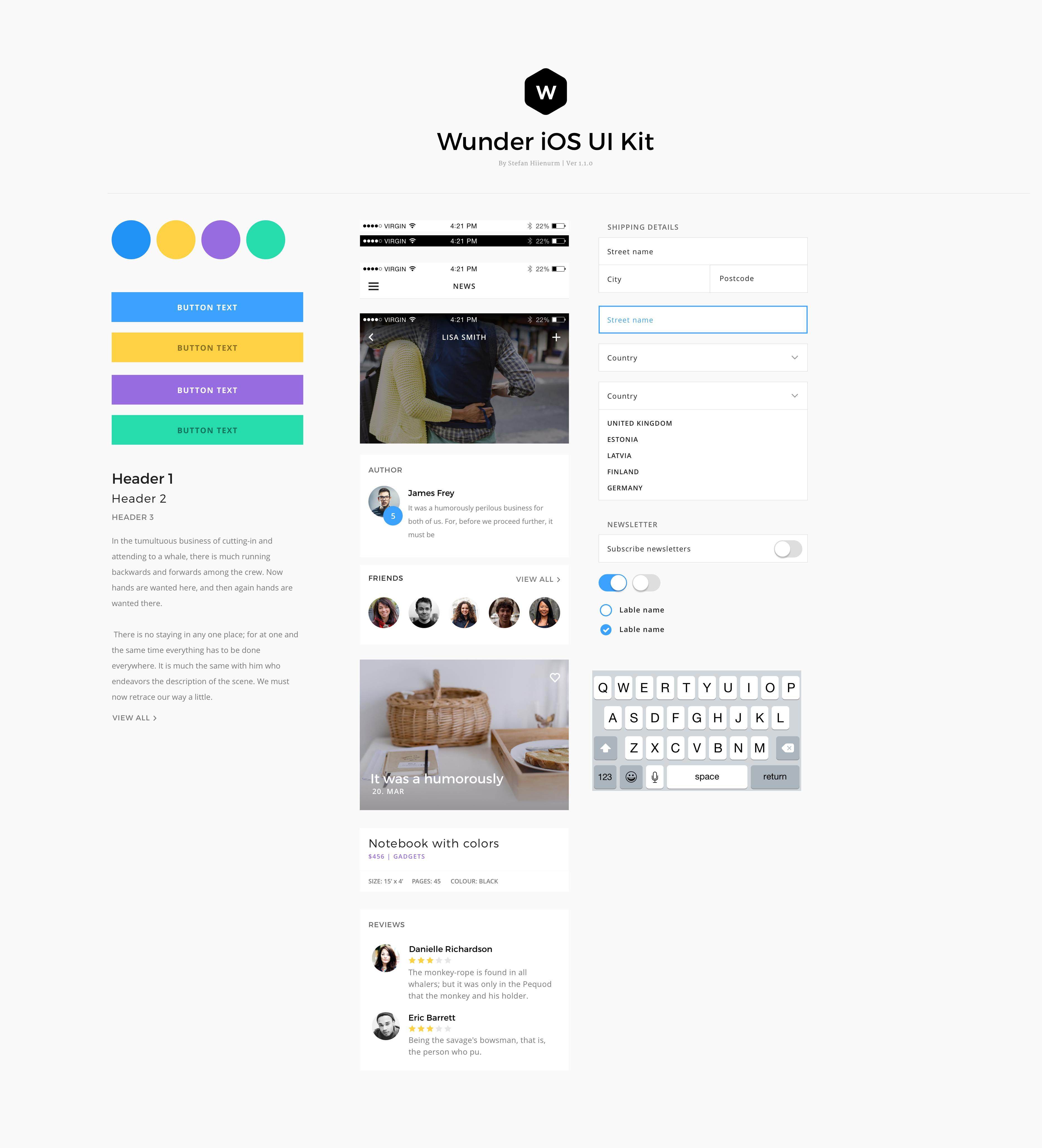 Wunder - Multi-Purpose Mobile UI Kit For Sketch