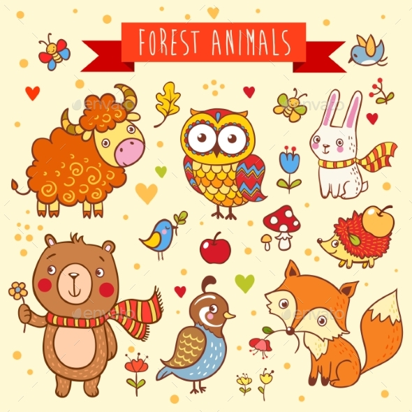 Vector Set of Wild Animals in the Forest - Animals Characters