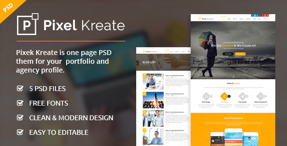 Pixel Kreate – One Page PSD Template