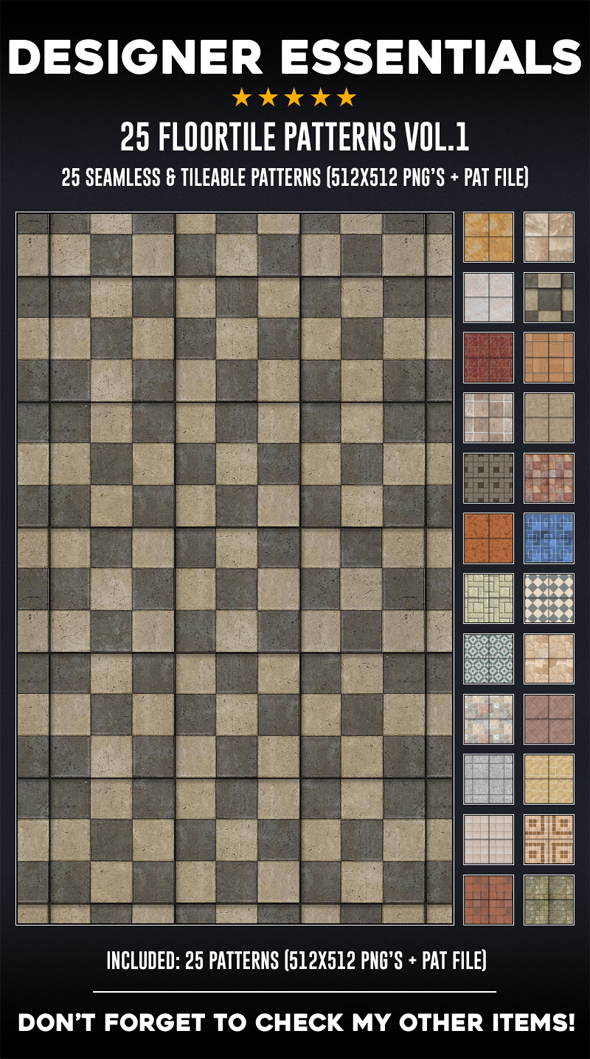 25 Tileable / Seamless Floor Tile Patterns - Miscellaneous Textures / Fills / Patterns