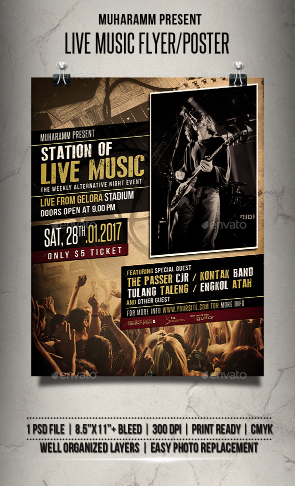 Live music flyer poster by muharamm graphicriver for Music brochure templates